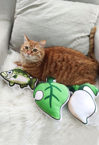 Animal Crossing New Leaf Sea Bass White Turnip Bells Bag Icon Pillows Pet Toys Cushion with Catnip Catmint