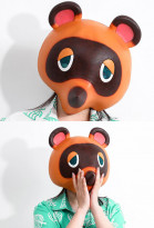 Animal Crossing Tom Nook Tanukichi Raccoon Dog Head Latex Cosplay Hood Mask