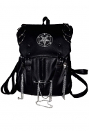 Black Metal Hell Gothic Metal Chain Multiple Pocket Backpack with Metal Rings