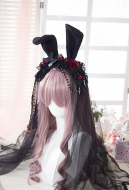 [Free US Economy Shipping] Gothic Lolita Batterfly Rose and Rabbit Ear KC Lace Veil Hairband