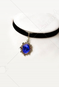 [Free US Economy Shipping] Retro Steampunk Gothic Classical Sapphire Neck Accessories Choker