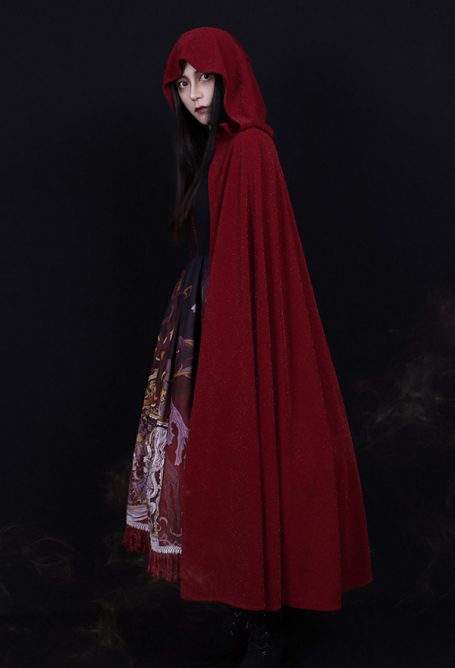 Dark Gothic Silver Thread Long Lolita Cloak