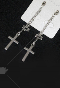 Retro Steampunk Gothic JK Lolita Cross Earrings