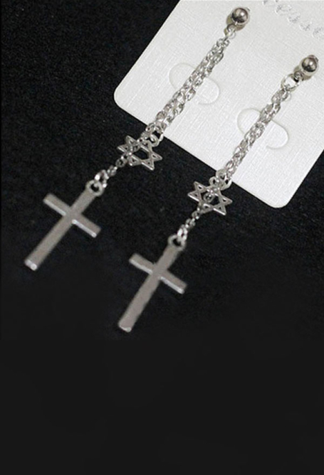 [Free US Economy Shipping] Retro Steampunk Gothic JK Lolita Cross Earrings