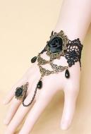 [Free US Economy Shipping] Retro Palace Gothic Lolita Dark Lace Bracelet Ring Set