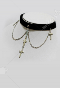 Retro Steampunk Gothic Lolita Cross Multi Layer Necklace Choker
