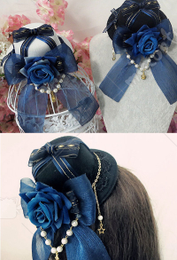 Gothic Lolita Rose Mini Top Hat Hair Clip Hair Accessory