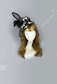Alice Clock Rabbit Ear Veil Gothic Mini Top Hat Hair Accessory
