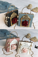 Gothic Retro Purse Lolita Rose and Pearl Shoulder Bag Metal Chain Handbag Sweet Square Bag
