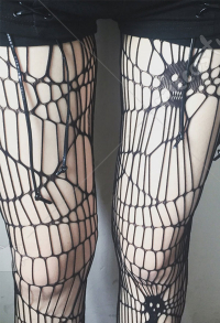 [Free US Economy Shipping] Dark Gothic Punk Hollow Spider Skeleton Big Hole Pantyhose 2 Set