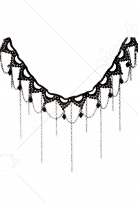 [Free US Economy Shipping] Retro Dark Gothic Lace Lolita Vintage Tassel Fake Collar Choker Necklace