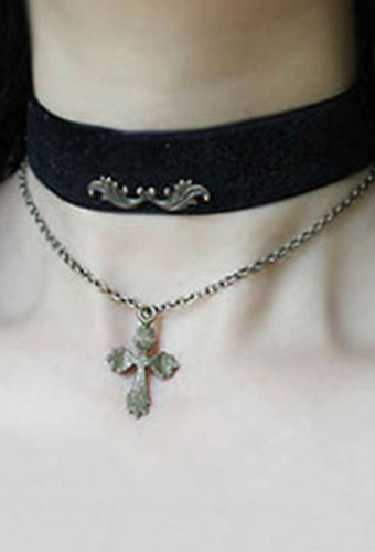 [Free US Economy Shipping] Retro Steampunk Gothic Wing Neck Accessories Cross Necklace