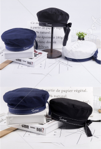 Navy Sailor Style Sweet Lolita Beret Cap Cute Bowknot Paiter Hat English Letters Embroidered Sailor Hat Headwear