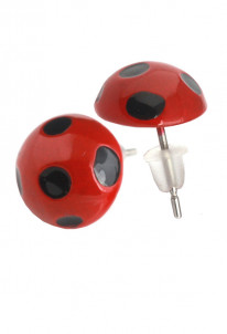 Ladybug and Black Cat Ear Studs Earrings