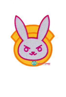 Overwatch Police Officer D.Va Cosplay Patch Set Including Bunny Shoulder Emblem, Chest Shield and Hana Song Tag