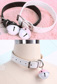 Cute Harajuku Style Maiden Maid PU Leather Adult Role Play Accessory Bell Collar Choker Necklace with Chain