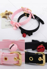 Cute Lolita PU Leather Adult Role Play Accessory Bowknot Bell Choker Collar Necklace