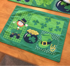 Green Lucky Leprechauns with Shamrock Patchwork Tablecloth, Coffee Table, Decorations, Gift for St. Patricks Day Style A