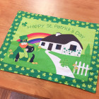 Green Lucky Leprechauns with Shamrock Patchwork Tablecloth, Coffee Table, Decorations, Gift for St. Patricks Day Style B