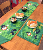 Green Lucky Leprechauns with Shamrock Patchwork Tablecloth, Coffee Table, Decorations, Gift for St. Patricks Day Style C