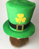 St. Patricks Day Green Leprechaun Shamrock Top Hat with Beard