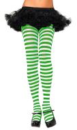 St. Patricks Day Shamrock Light Green and White Thigh High Stockings Irish Striped Socks