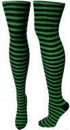 St. Patricks Day Shamrock Dark Green and White Thigh High Stockings Irish Striped Socks