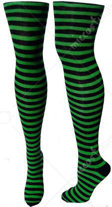 00241d4a7a8 St. Patricks Day Shamrock Dark Green and White Thigh High Stockings Irish Striped  Socks