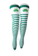 St. Patricks Day Shamrock Green and White Striped Thigh High Socks Single Leaf Over Knee Socks