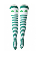 St. Patricks Day Green and White Striped Thigh High Stockings with Shamrocks Striped Socks for Saint Patrick Party Costume