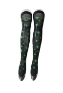 St. Patricks Day Black Background Thigh High Stockings with Shamrocks Over Knee Socks with Clover Pattern Style A