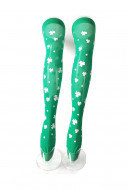St. Patricks Day Green Background Thigh High Stockings with Shamrocks Over Knee Socks with Clover Pattern