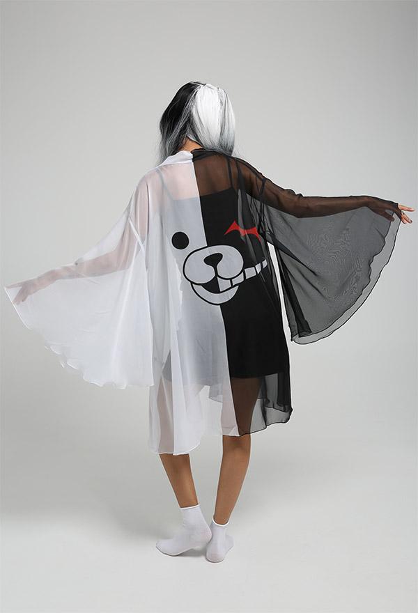 Monokuma Haori Lange Arm Chiffon Jacke Sommer Kimono