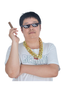 Thug Life Cosplay Kit including Fake Glasses, Golden Chain and Cigar