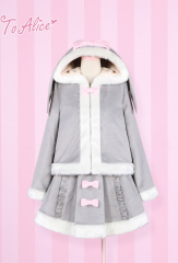 To Alice Cute Rabbit Lolita Coat and Skirt Two Colors
