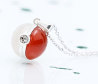 Pokemon Ball agate and silver necklace