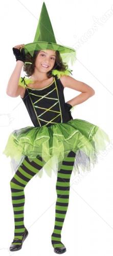 Ballerina Witch Green Child Costume