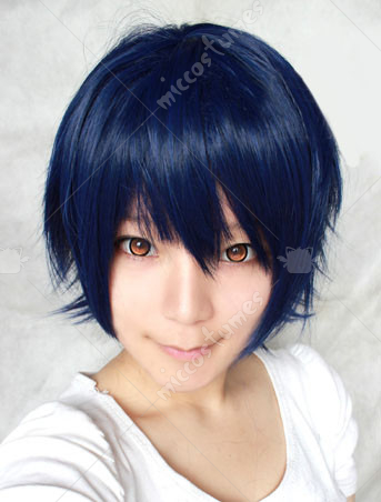 Black Blue Heat Resistant Fiber Cosplay Wig