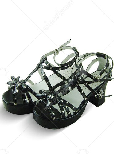 Black Crossed Strap Thick Heel Platform Leather Sandals