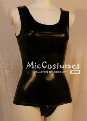 Black Japanese School Leather Swimsuit Gym Suit Open Pants