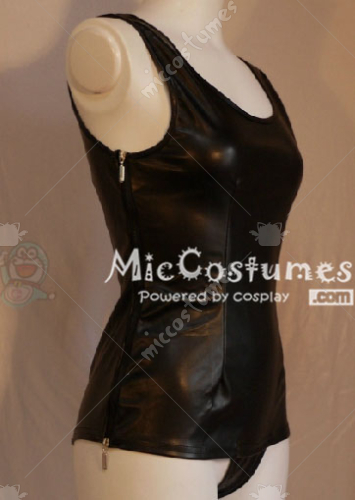 Black Japanese School Leather Swimsuit Gym Suit