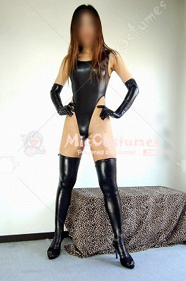 Black Japanese Sexy T Back Zentai Gym Suit