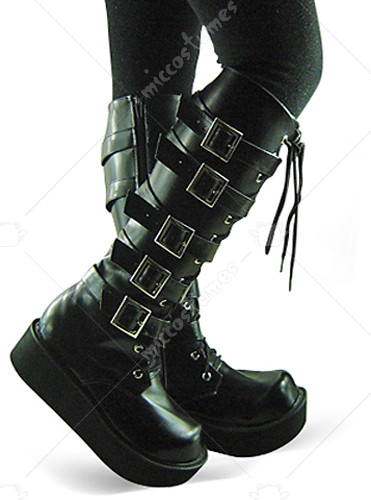 Black Lace Up Buckled Platform Leather Knee Boots