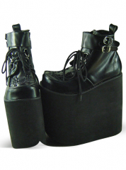 Black Lace Up Platform Ankle Boots