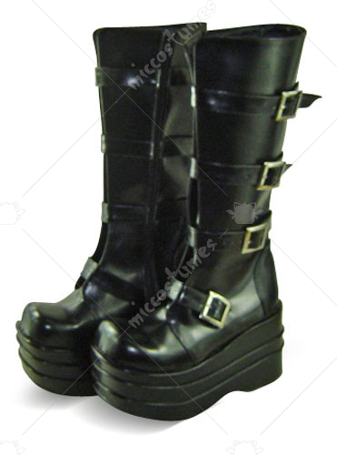 Black Oblate Toe Buckle Platform Leather Knee Boots