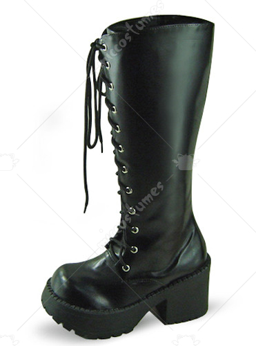 Black Oblate Toe Lace Up Platform Leather Knee Boots