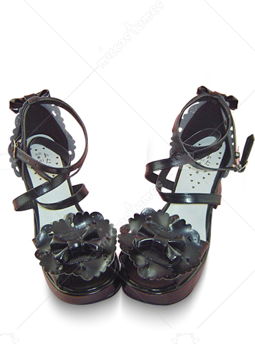 Black Peep Toe Crossed Strap Platform Leather Sandals
