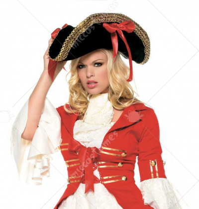 Black Pirate Hat With Red Ribbons