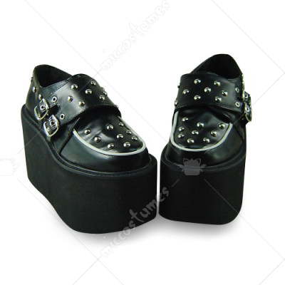 Black Rivet Platform Lolita Shoes