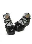 Black Round Toe Platform Buckled Leather Pump